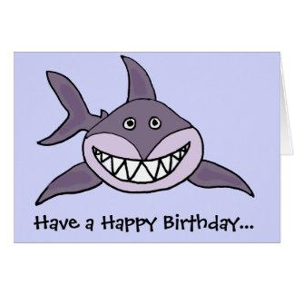 Funny Grinning Grey Shark Cartoon Card