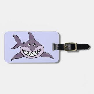 Funny Grinning Grey Shark Cartoon Luggage Tag
