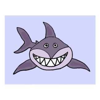 Funny Grinning Grey Shark Cartoon Postcard