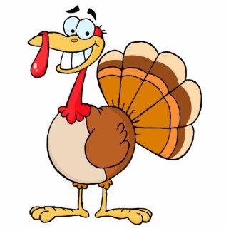 funny grinning happy turkey cartoon photo sculpture keychain