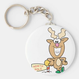 Funny Grinning Reindeer at North Pole Basic Round Button Keychain