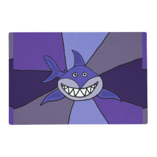 Funny Grinning Shark Abstract Placemat Laminated Place Mat