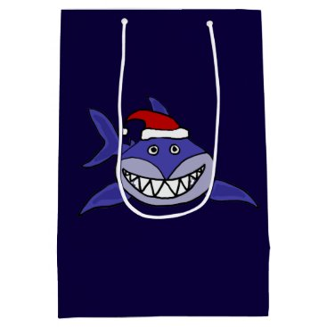 Christmas Themed Funny Grinning Shark Christmas Gift Bag
