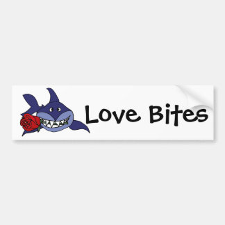 Funny Grinning Shark with Rose Bumper Sticker