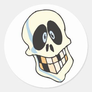 funny grinning skeleton skull classic round sticker
