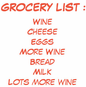 Image result for grocery list funny wine