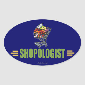 Funny Grocery Shopping Oval Sticker