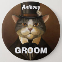 Funny groom cat button