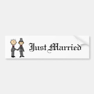 Funny Grooms Gay Marriage Cartoon Bumper Sticker