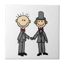 Funny Grooms Gay Marriage Cartoon Ceramic Tile