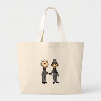 Funny Grooms Gay Marriage Cartoon Large Tote Bag