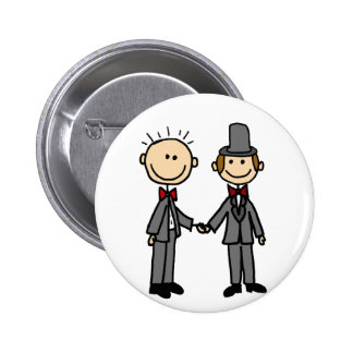 Funny Grooms Gay Marriage Cartoon Pinback Button