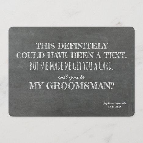 Funny GROOMSMAN Invitation