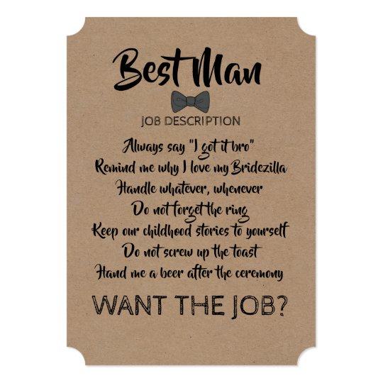 Funny Groomsman Or Best Man Job Proposal Invitation