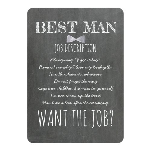Funny Groomsman or Best Man Proposal Invitation