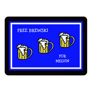 "Funny Groomsmen Flat Invitations with Brewski 5"" X 7"" Invitation Card"