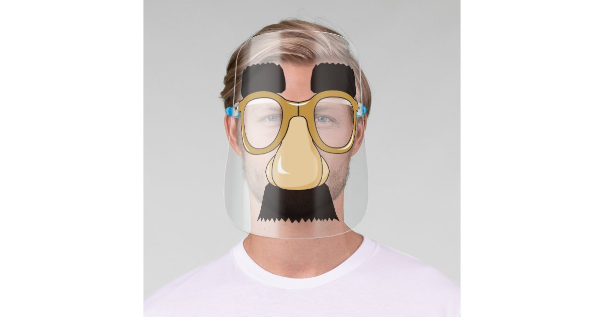 Funny Groucho Marx Nose Mustache Eyebrows Glasses Face Shield Zazzle Com