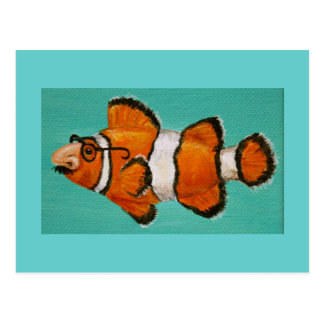 funny groucho masked clown fish postcard