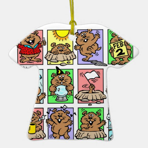 Funny Groundhog Day Cartoons Double-Sided T-Shirt Ceramic Christmas Ornament
