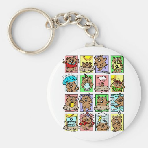 Funny Groundhog Day Cartoons Key Chains