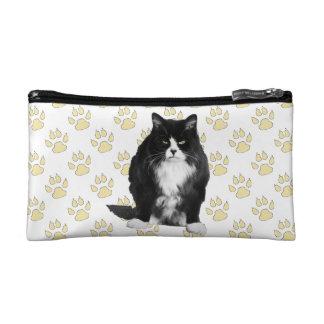 Funny Grumpy Cat Cosmetic Bag / Yellow Paw Print