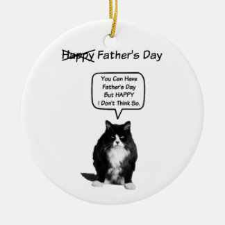 Funny Grumpy Cat Father's' Day Round Ornament