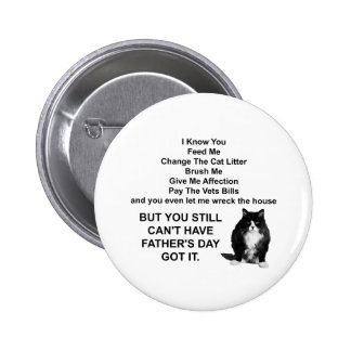 Funny Grumpy Cat Father's Day Round Pin Button