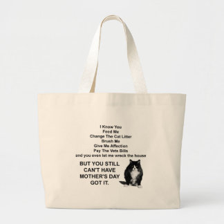 Funny Grumpy Cat Mother's Day Jumbo Tote Bags