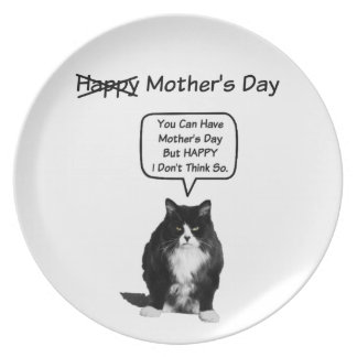 Funny Grumpy Cat Mother's Day Plate