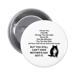 Funny Grumpy Cat Mother's Day Round Pin Button