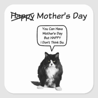 Funny Grumpy Cat Mother's Day Square Stickers