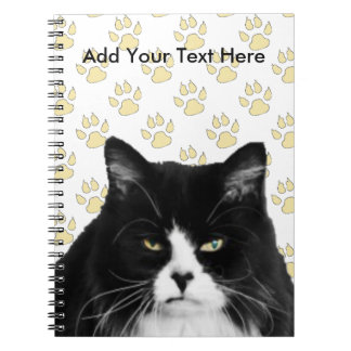 Funny Grumpy Cat Note Book / Yellow Paw Print
