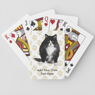 Funny Grumpy Cat Playing Cards  / Yellow Paw Print