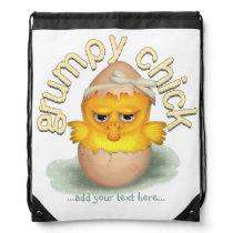 Funny Grumpy Chick Personalized Drawstring Bag