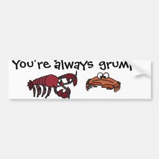 Funny Grumpy Crab Cartoon Bumper Sticker
