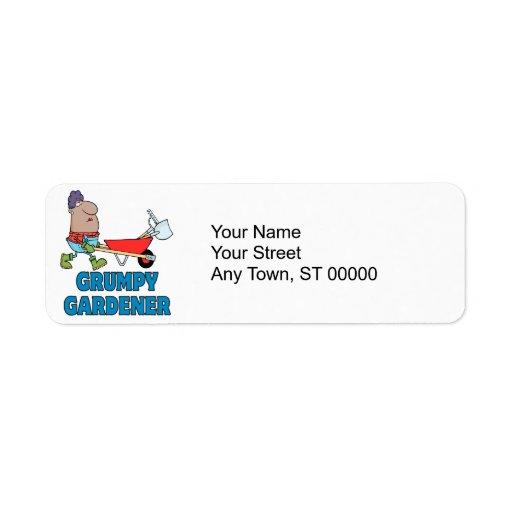 funny grumpy gardener african american lady custom return address labels