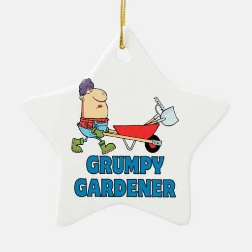 funny grumpy gardener lady Double-Sided star ceramic christmas ornament