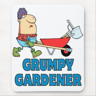 funny grumpy gardener lady mouse pad