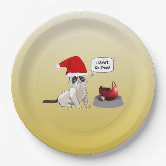 Funny Grumpy Kitten Christmas Paper Plates