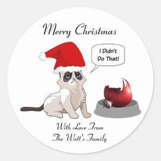 Funny Grumpy Kitten Christmas Round Stickers