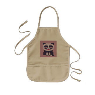 funny grumpy looking kitty aprons