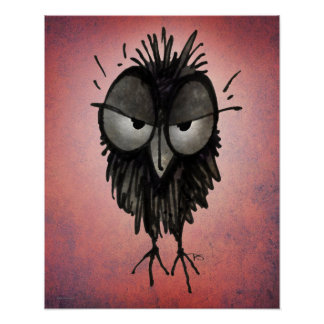 Funny Grumpy Owl Art on Pink Poster