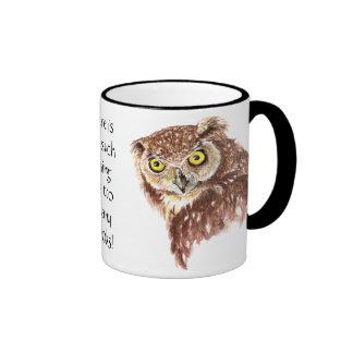 Funny Grumpy Owl No such thing, too many Books Coffee Mug