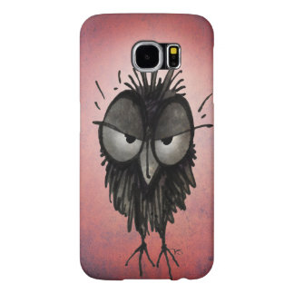 Funny Grumpy Owl on Pink Samsung Galaxy S6 Cases