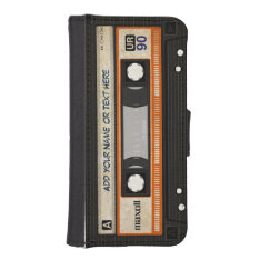 Funny Grunge 80s Retro Music Cassette Tape iPhone SE/5/5s Wallet Case at Zazzle