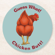 Funny Guess What Chicken Butt Red Hen Round Paper Coaster