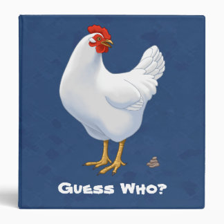 Funny Guess Who Chicken Poo White Hen Binder