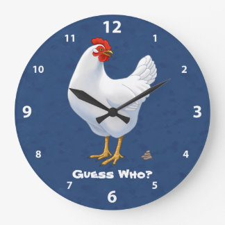 Funny Guess Who Chicken Poo White Hen Large Clock