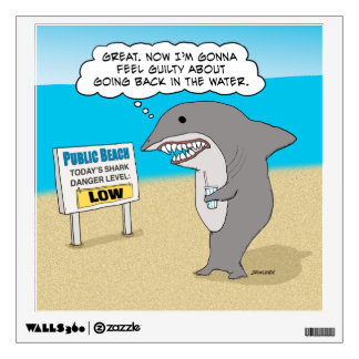 Funny Guilty Shark on Beach Wall Sticker