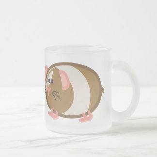 Funny Guinea Pig on White Frosted Glass Coffee Mug